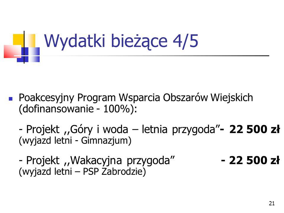 21 Wydatki bieżące 4/5 Poakcesyjny Program Wsparcia Obszarów Wiejskich (dofinansowanie - 100%): - Projekt,,Góry i woda – letnia przygoda- 22 500 zł (w