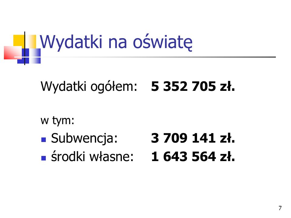 7 Wydatki na oświatę Wydatki ogółem: 5 352 705 zł. w tym: Subwencja:3 709 141 zł. środki własne:1 643 564 zł.