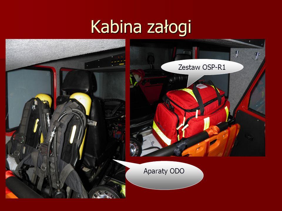 Kabina załogi Maski aparatów ODO, Latarki do hełmów Pasy bojowe z toporkami