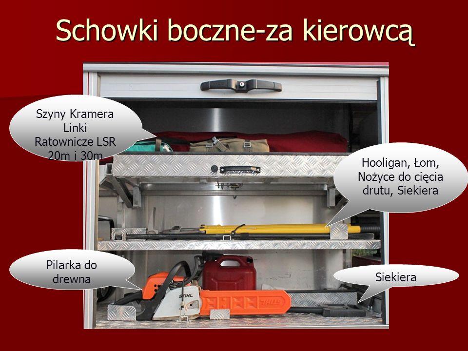 Schowki boczne-za kierowcą Zbiornik środka pianotwórczego Lina, Pachołki ostrzegawcze