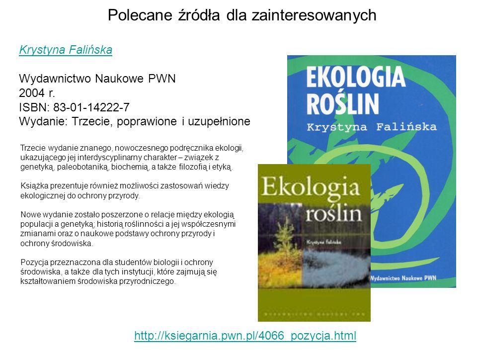Polecane źródła dla zainteresowanych http://ksiegarnia.pwn.pl/4066_pozycja.html Krystyna Falińska Wydawnictwo Naukowe PWN 2004 r. ISBN: 83-01-14222-7