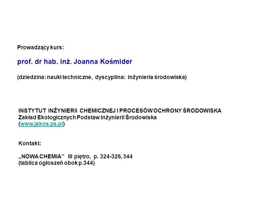 INSTYTUT INŻYNIERII CHEMICZNEJ I PROCESÓW OCHRONY ŚRODOWISKA Zakład Ekologicznych Podstaw Inżynierii Środowiska (www.jakos.ps.pl)www.jakos.ps.pl Konta