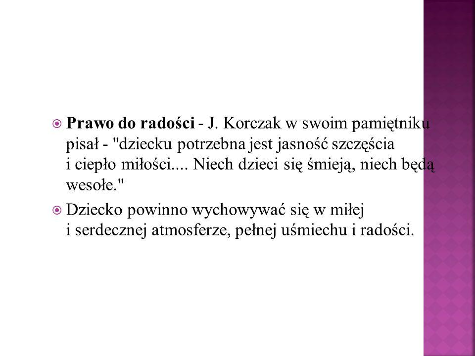 Prawo do radości - J. Korczak w swoim pamiętniku pisał -