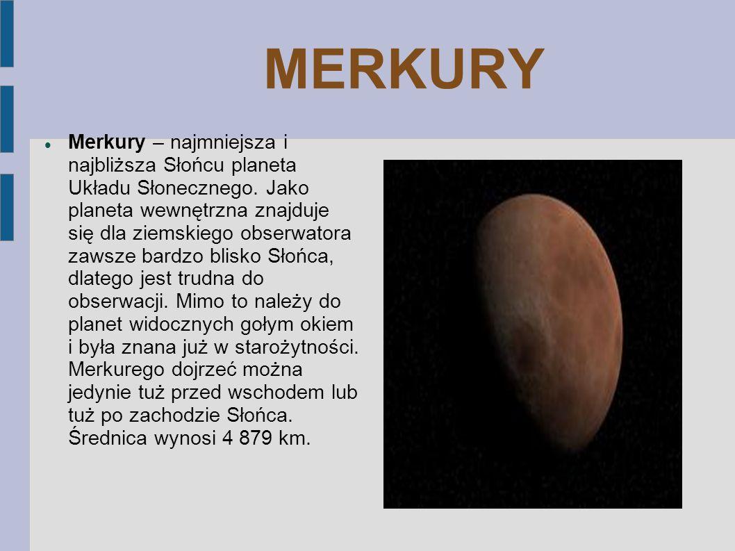WENUS Wenus – druga pod względem odległości od Słońca planeta Układu Słonecznego.