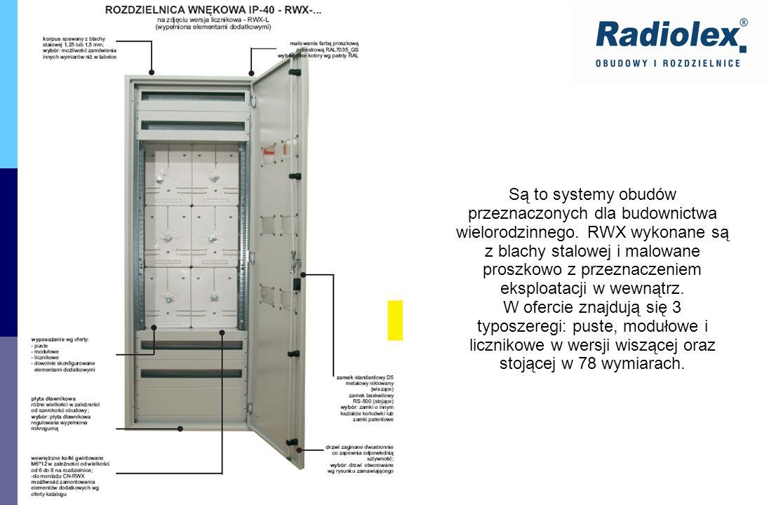 Są to systemy obudów przeznaczonych dla budownictwa wielorodzinnego. RWX wykonane są z blachy stalowej i malowane proszkowo z przeznaczeniem eksploata