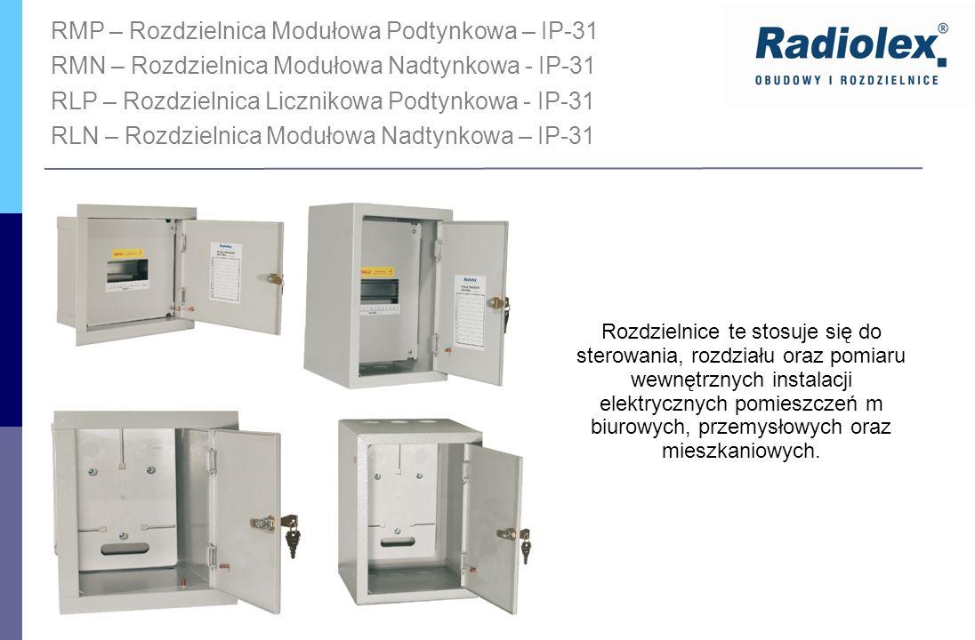 RMP – Rozdzielnica Modułowa Podtynkowa – IP-31 RMN – Rozdzielnica Modułowa Nadtynkowa - IP-31 RLP – Rozdzielnica Licznikowa Podtynkowa - IP-31 RLN – R