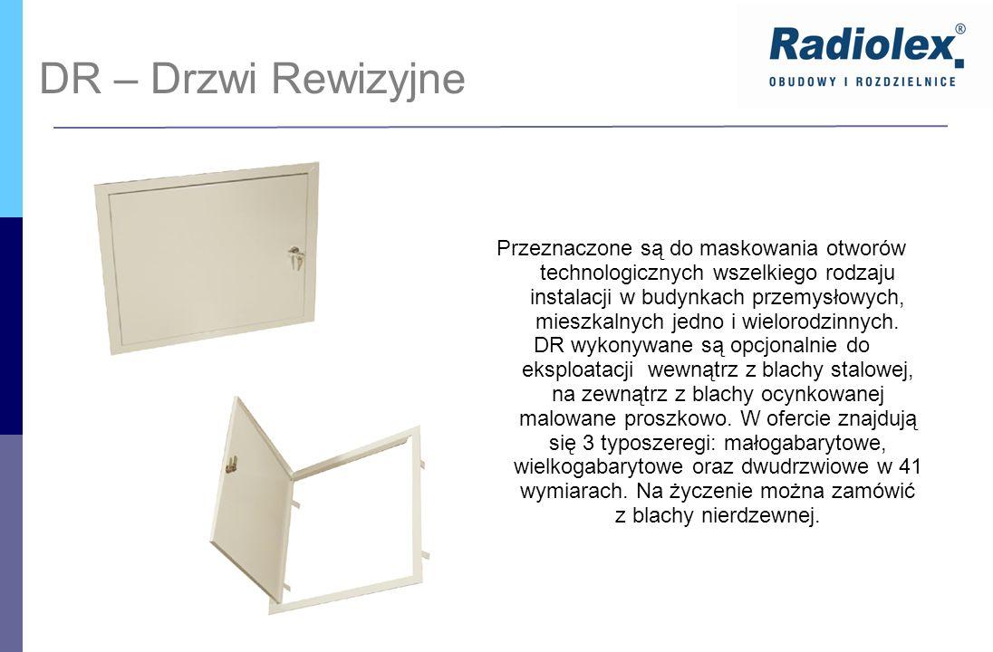 DR – Drzwi Rewizyjne Przeznaczone są do maskowania otworów technologicznych wszelkiego rodzaju instalacji w budynkach przemysłowych, mieszkalnych jedn