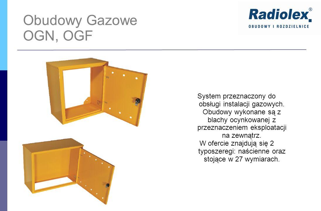 Obudowy Gazowe OGN, OGF System przeznaczony do obsługi instalacji gazowych. Obudowy wykonane są z blachy ocynkowanej z przeznaczeniem eksploatacji na