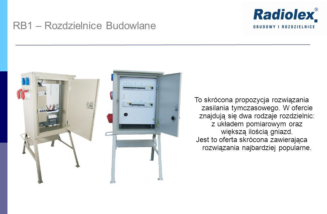 RB1 – Rozdzielnice Budowlane To skrócona propozycja rozwiązania zasilania tymczasowego. W ofercie znajdują się dwa rodzaje rozdzielnic: z układem pomi