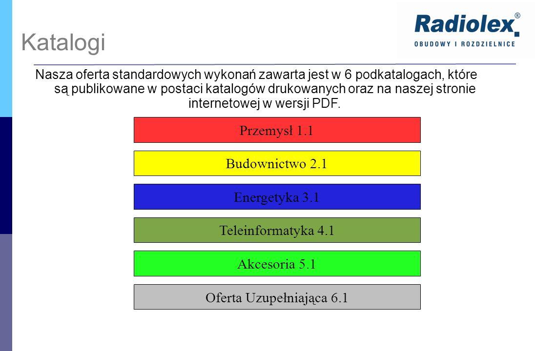 Katalogi Przemysł 1.1 Budownictwo 2.1 Energetyka 3.1 Teleinformatyka 4.1 Akcesoria 5.1 Oferta Uzupełniająca 6.1 Nasza oferta standardowych wykonań zaw