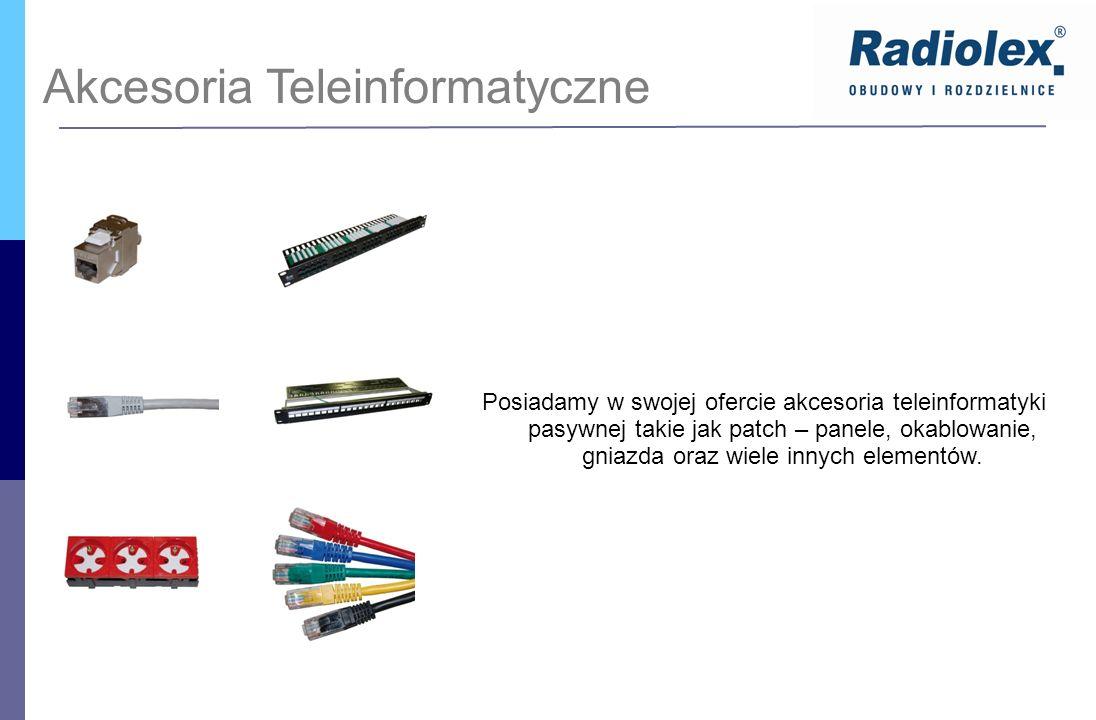 Akcesoria Teleinformatyczne Posiadamy w swojej ofercie akcesoria teleinformatyki pasywnej takie jak patch – panele, okablowanie, gniazda oraz wiele in