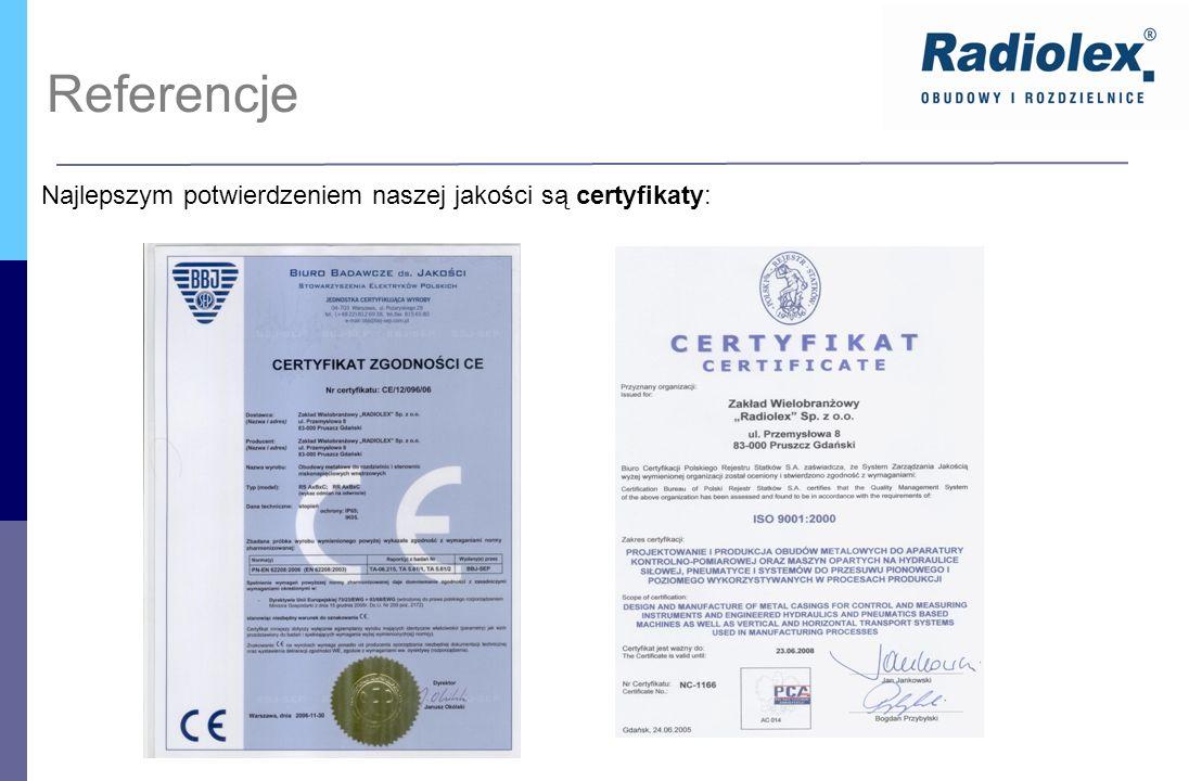 Referencje Najlepszym potwierdzeniem naszej jakości są certyfikaty: