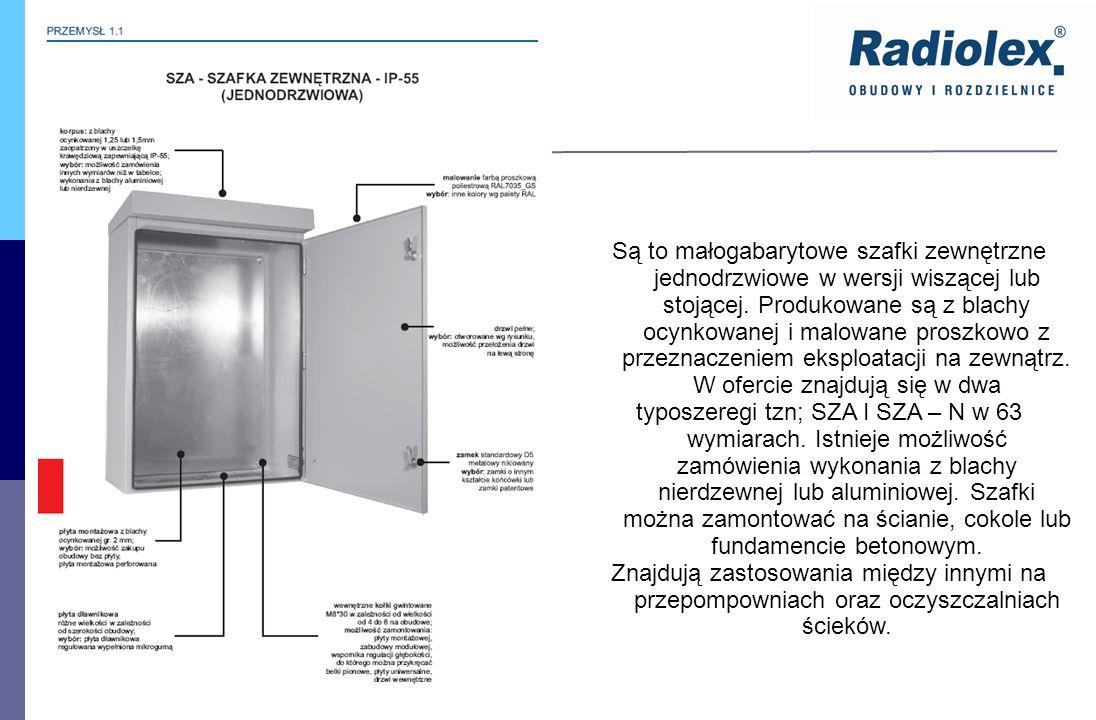 SZA IP - 55 Są to małogabarytowe szafki zewnętrzne jednodrzwiowe w wersji wiszącej lub stojącej. Produkowane są z blachy ocynkowanej i malowane proszk