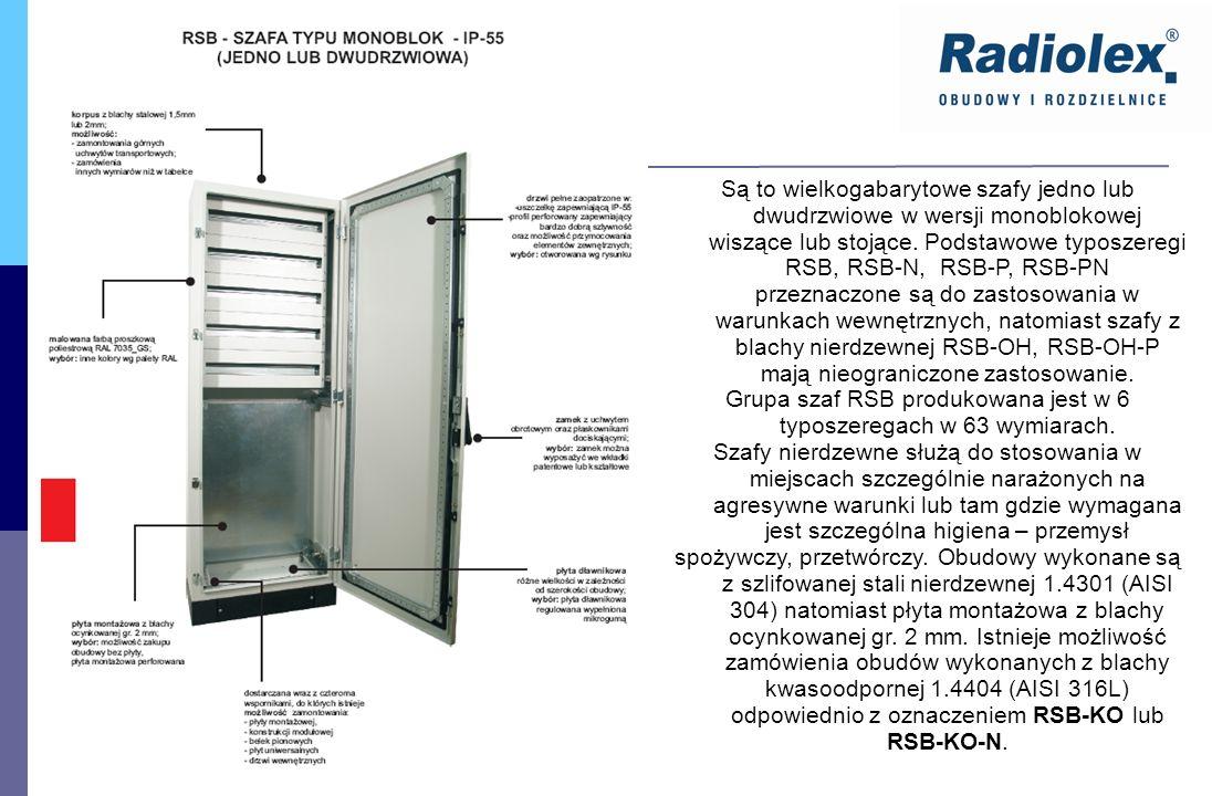 Są to wielkogabarytowe szafy jedno lub dwudrzwiowe w wersji monoblokowej wiszące lub stojące. Podstawowe typoszeregi RSB, RSB-N, RSB-P, RSB-PN przezna
