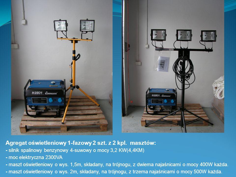 Agregat oświetleniowy 1-fazowy 2 szt. z 2 kpl. masztów: - silnik spalinowy benzynowy 4-suwowy o mocy 3,2 KW(4,4KM) - moc elektryczna 2300VA - maszt oś