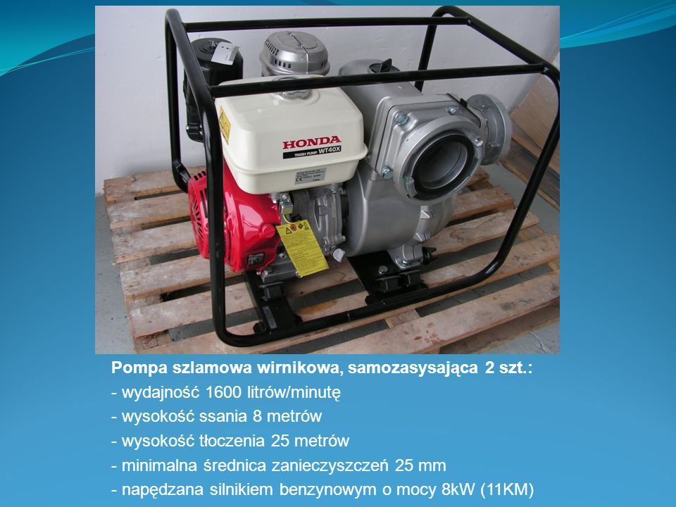 Pompa szlamowa wirnikowa, samozasysająca 2 szt.: - wydajność 1600 litrów/minutę - wysokość ssania 8 metrów - wysokość tłoczenia 25 metrów - minimalna
