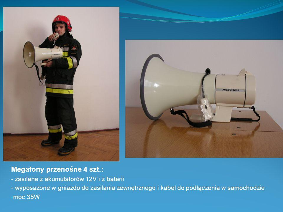 Megafony przenośne 4 szt.: - zasilane z akumulatorów 12V i z baterii - wyposażone w gniazdo do zasilania zewnętrznego i kabel do podłączenia w samocho