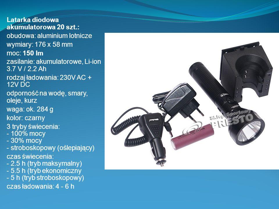 Latarka diodowa akumulatorowa 20 szt.: obudowa: aluminium lotnicze wymiary: 176 x 58 mm moc: 150 lm zasilanie: akumulatorowe, Li-ion 3.7 V / 2.2 Ah ro