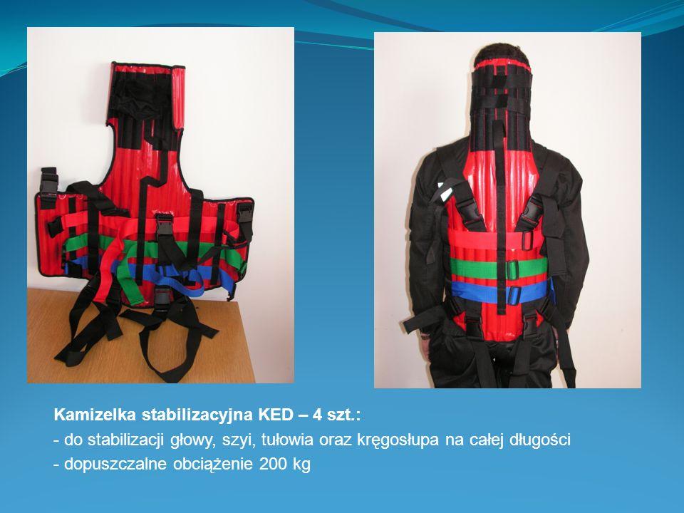 Kamizelka stabilizacyjna KED – 4 szt.: - do stabilizacji głowy, szyi, tułowia oraz kręgosłupa na całej długości - dopuszczalne obciążenie 200 kg