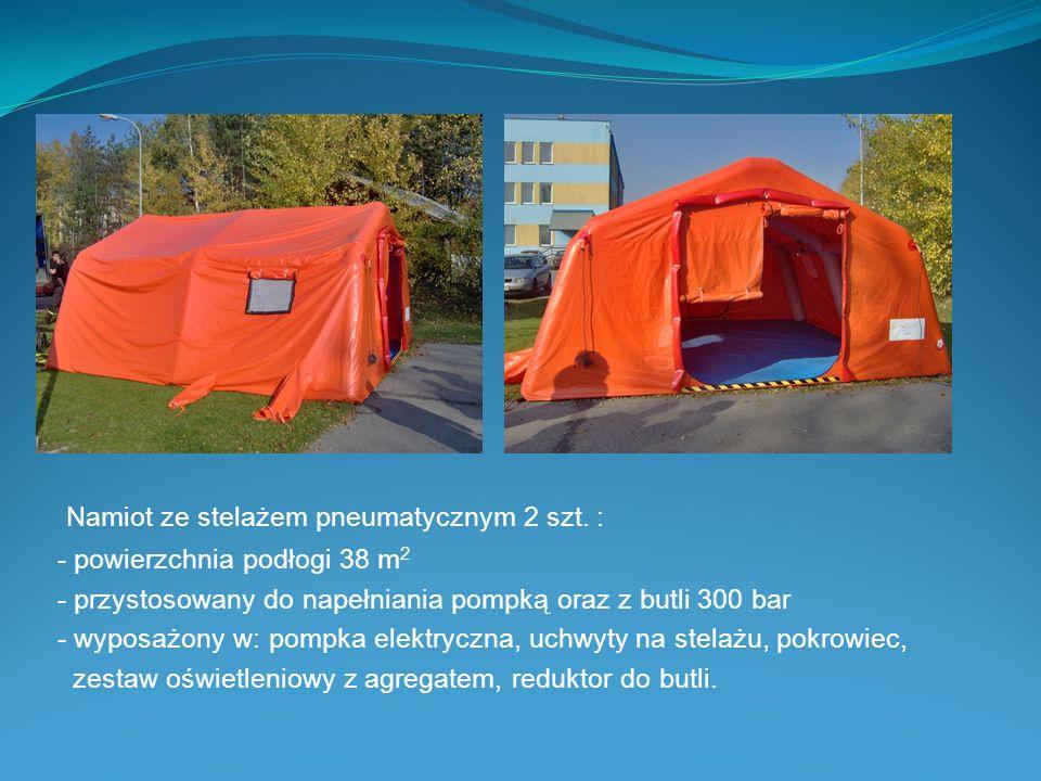 Namiot ze stelażem pneumatycznym 2 szt. : - powierzchnia podłogi 38 m 2 - przystosowany do napełniania pompką oraz z butli 300 bar - wyposażony w: pom