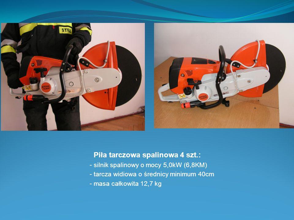 Piła tarczowa spalinowa 4 szt.: - silnik spalinowy o mocy 5,0kW (6,8KM) - tarcza widiowa o średnicy minimum 40cm - masa całkowita 12,7 kg