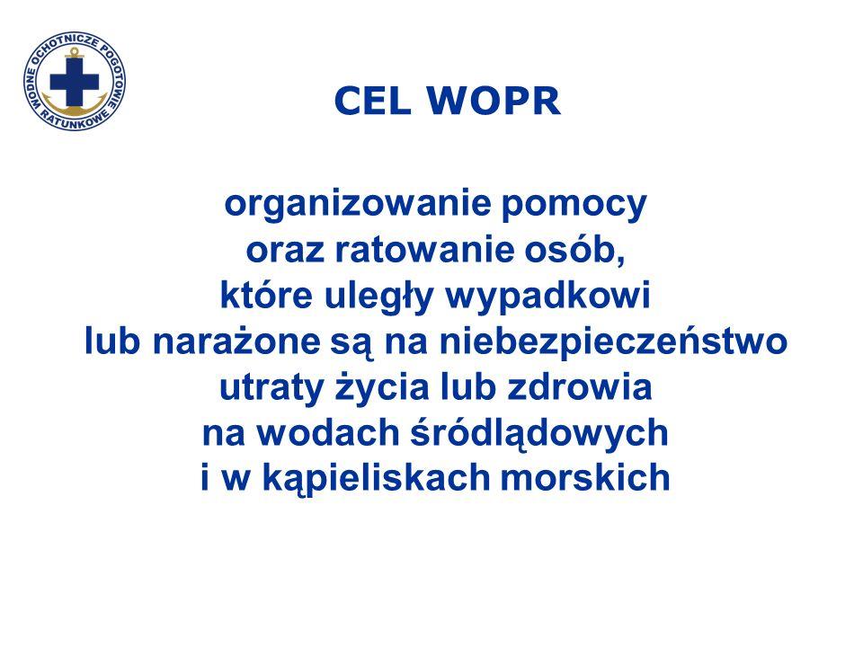 CEL WOPR organizowanie pomocy oraz ratowanie osób, które uległy wypadkowi lub narażone są na niebezpieczeństwo utraty życia lub zdrowia na wodach śród