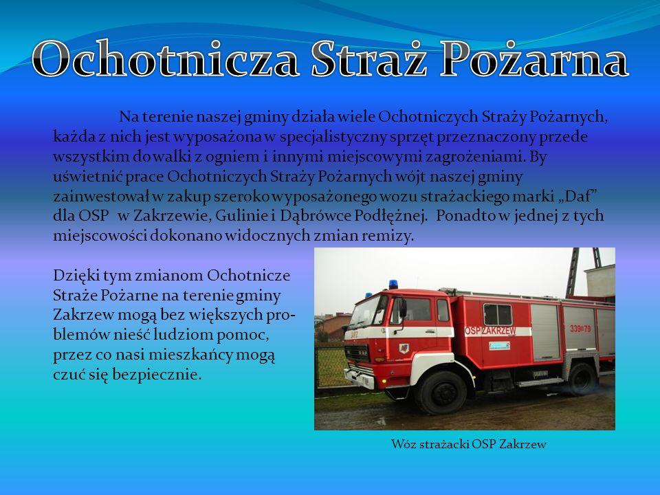 Na terenie naszej gminy działa wiele Ochotniczych Straży Pożarnych, każda z nich jest wyposażona w specjalistyczny sprzęt przeznaczony przede wszystki