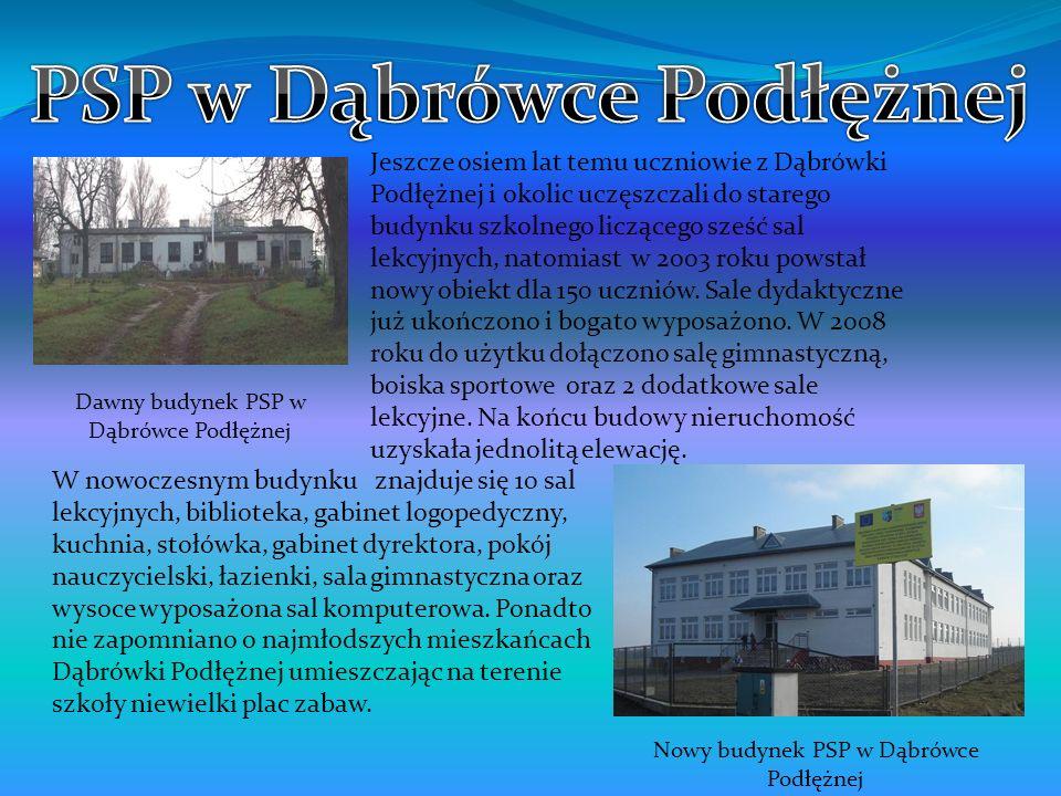 Jeszcze osiem lat temu uczniowie z Dąbrówki Podłężnej i okolic uczęszczali do starego budynku szkolnego liczącego sześć sal lekcyjnych, natomiast w 20