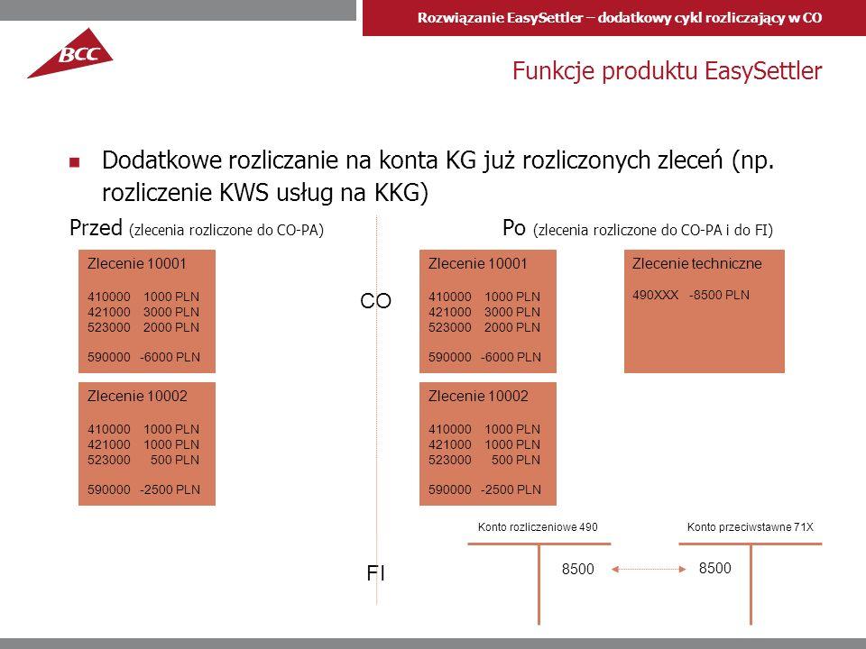 Rozwiązanie EasySettler – dodatkowy cykl rozliczający w CO Najczęstsze zastosowania Rozliczanie MPK na konta księgi głównej FI Rozliczanie na konta KG obiektów już rozliczonych do CO-PA (MPK/ Zlecenia) Wykonanie księgowań rozliczeniowych na podstawie kwot planowanych w CO Na potrzeby sporządzania kalkulacyjnego RZiS w rachunkowości finansowej za pomocą kont księgi głównej