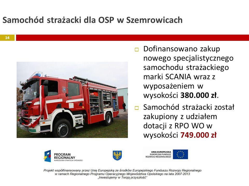 Samochód strażacki dla OSP w Szemrowicach Dofinansowano zakup nowego specjalistycznego samochodu strażackiego marki SCANIA wraz z wyposażeniem w wysok