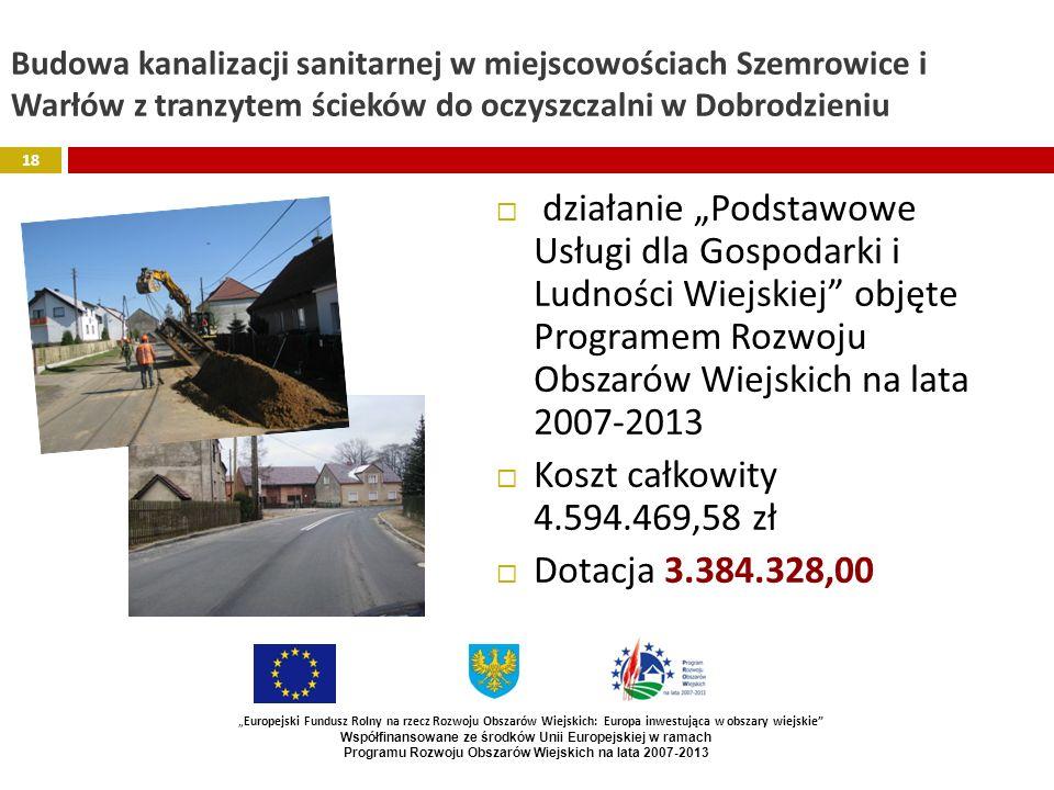 Budowa kanalizacji sanitarnej w miejscowościach Szemrowice i Warłów z tranzytem ścieków do oczyszczalni w Dobrodzieniu działanie Podstawowe Usługi dla