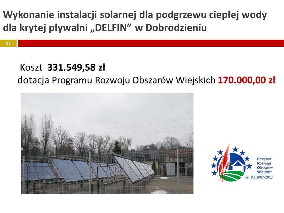 Wykonanie instalacji solarnej dla podgrzewu ciepłej wody dla krytej pływalni DELFIN w Dobrodzieniu Koszt 331.549,58 zł dotacja Programu Rozwoju Obszar