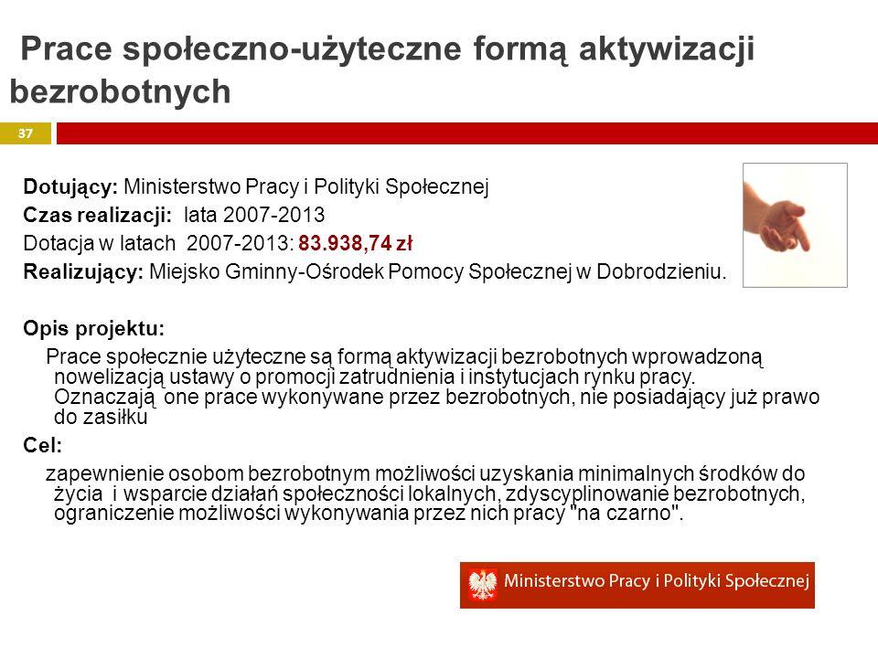 Dotujący: Ministerstwo Pracy i Polityki Społecznej Czas realizacji: lata 2007-2013 Dotacja w latach 2007-2013: 83.938,74 zł Realizujący: Miejsko Gminn