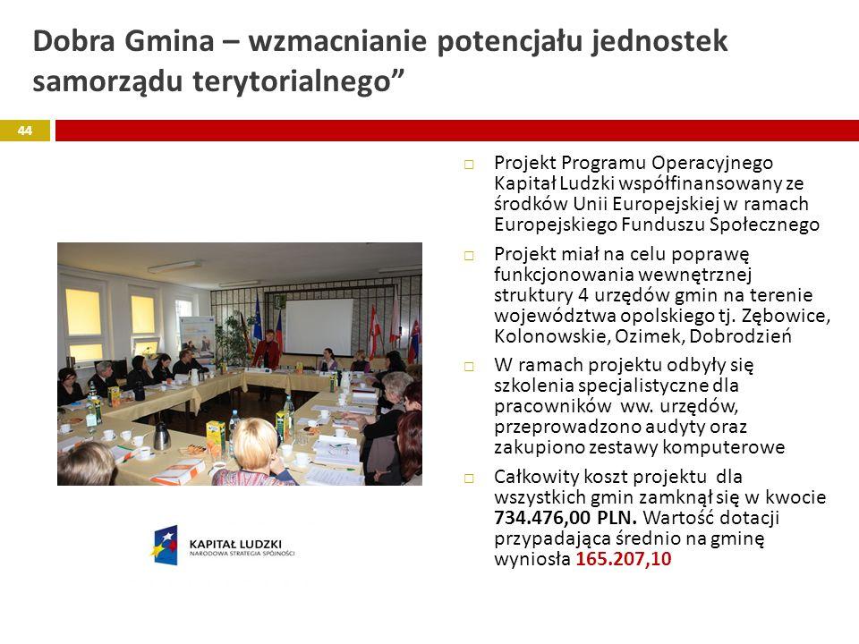 Dobra Gmina – wzmacnianie potencjału jednostek samorządu terytorialnego Projekt Programu Operacyjnego Kapitał Ludzki współfinansowany ze środków Unii