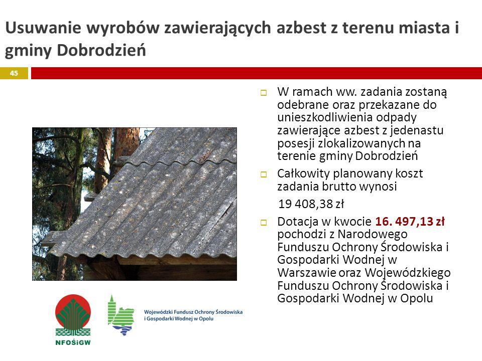 Usuwanie wyrobów zawierających azbest z terenu miasta i gminy Dobrodzień W ramach ww. zadania zostaną odebrane oraz przekazane do unieszkodliwienia od