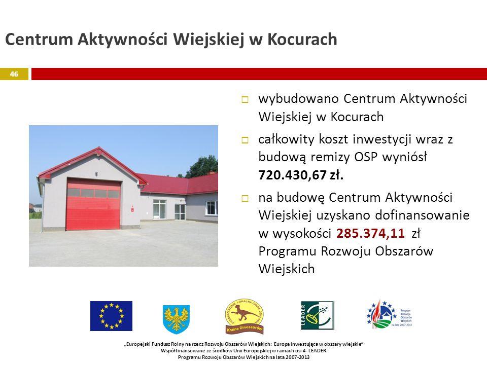 Centrum Aktywności Wiejskiej w Kocurach wybudowano Centrum Aktywności Wiejskiej w Kocurach całkowity koszt inwestycji wraz z budową remizy OSP wyniósł