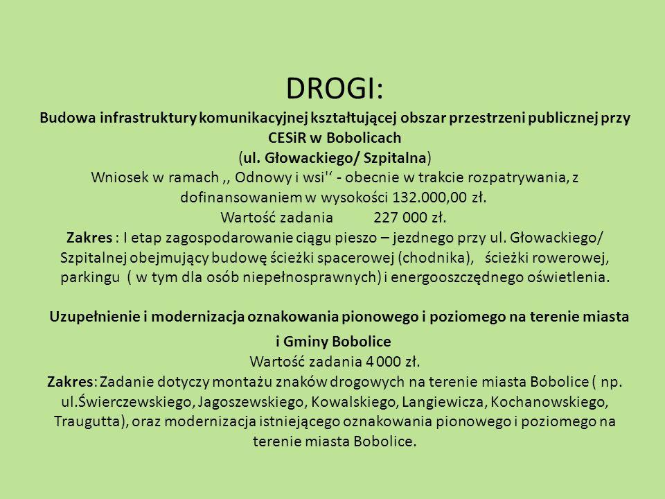 DROGI: Budowa infrastruktury komunikacyjnej kształtującej obszar przestrzeni publicznej przy CESiR w Bobolicach (ul. Głowackiego/ Szpitalna) Wniosek w