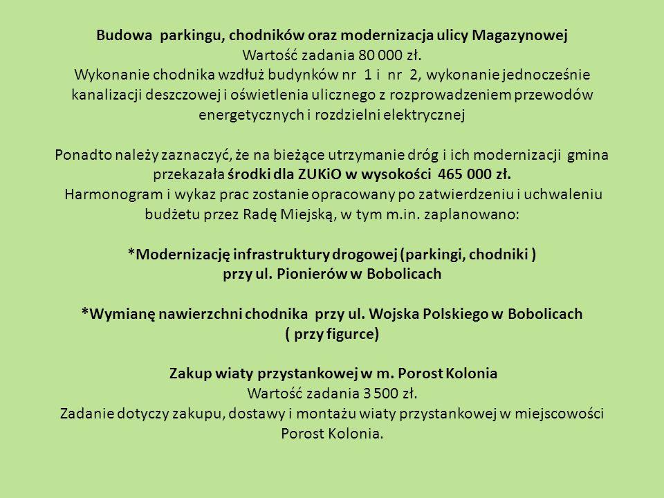 Budowa parkingu, chodników oraz modernizacja ulicy Magazynowej Wartość zadania 80 000 zł. Wykonanie chodnika wzdłuż budynków nr 1 i nr 2, wykonanie je