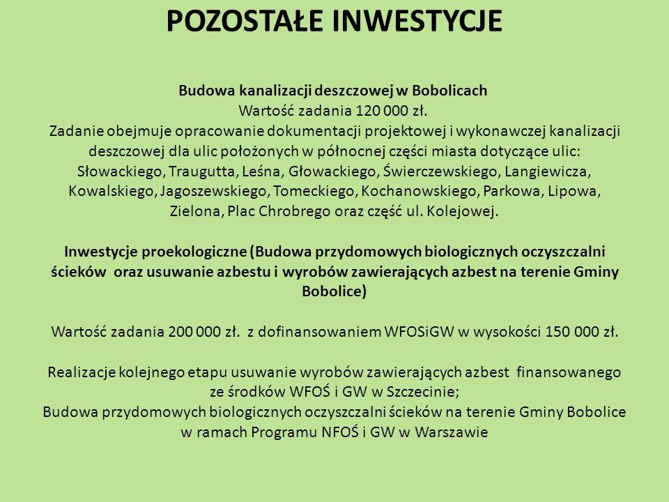 POZOSTAŁE INWESTYCJE Budowa kanalizacji deszczowej w Bobolicach Wartość zadania 120 000 zł. Zadanie obejmuje opracowanie dokumentacji projektowej i wy