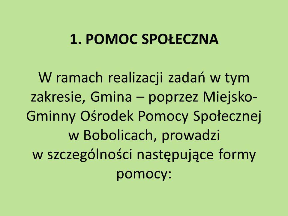 1. POMOC SPOŁECZNA W ramach realizacji zadań w tym zakresie, Gmina – poprzez Miejsko- Gminny Ośrodek Pomocy Społecznej w Bobolicach, prowadzi w szczeg