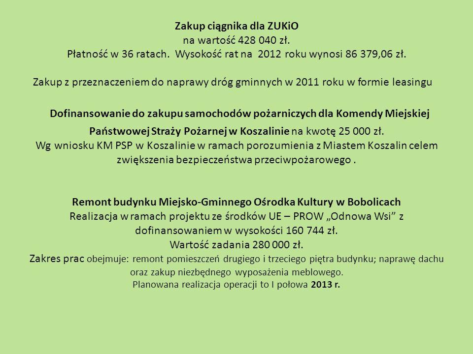Zakup ciągnika dla ZUKiO na wartość 428 040 zł. Płatność w 36 ratach. Wysokość rat na 2012 roku wynosi 86 379,06 zł. Zakup z przeznaczeniem do naprawy