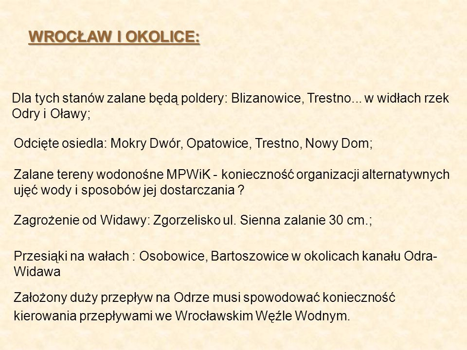 WROCŁAW I OKOLICE: Dla tych stanów zalane będą poldery: Blizanowice, Trestno... w widłach rzek Odry i Oławy; Odcięte osiedla: Mokry Dwór, Opatowice, T