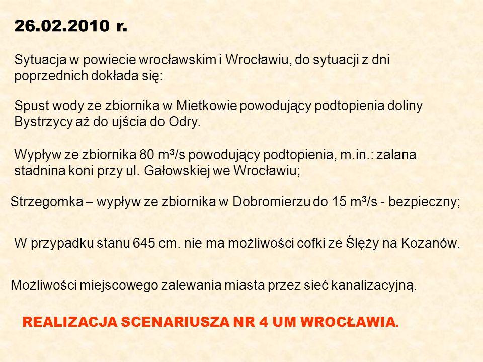 26.02.2010 r. Sytuacja w powiecie wrocławskim i Wrocławiu, do sytuacji z dni poprzednich dokłada się: Spust wody ze zbiornika w Mietkowie powodujący p