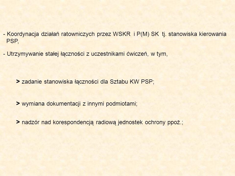 - Koordynacja działań ratowniczych przez WSKR i P(M) SK tj. stanowiska kierowania PSP, - Utrzymywanie stałej łączności z uczestnikami ćwiczeń, w tym,