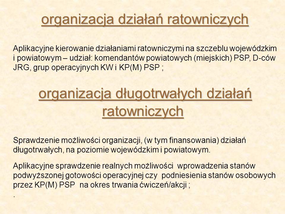 organizacja działań ratowniczych Aplikacyjne kierowanie działaniami ratowniczymi na szczeblu wojewódzkim i powiatowym – udział: komendantów powiatowych (miejskich) PSP, D-ców JRG, grup operacyjnych KW i KP(M) PSP ; organizacja długotrwałych działań ratowniczych Sprawdzenie możliwości organizacji, (w tym finansowania) działań długotrwałych, na poziomie wojewódzkim i powiatowym.