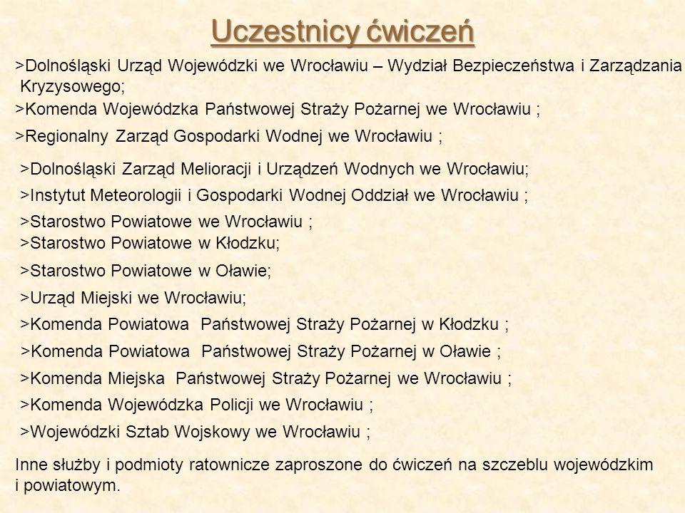 >Dolnośląski Urząd Wojewódzki we Wrocławiu – Wydział Bezpieczeństwa i Zarządzania Kryzysowego; Uczestnicy ćwiczeń >Regionalny Zarząd Gospodarki Wodnej