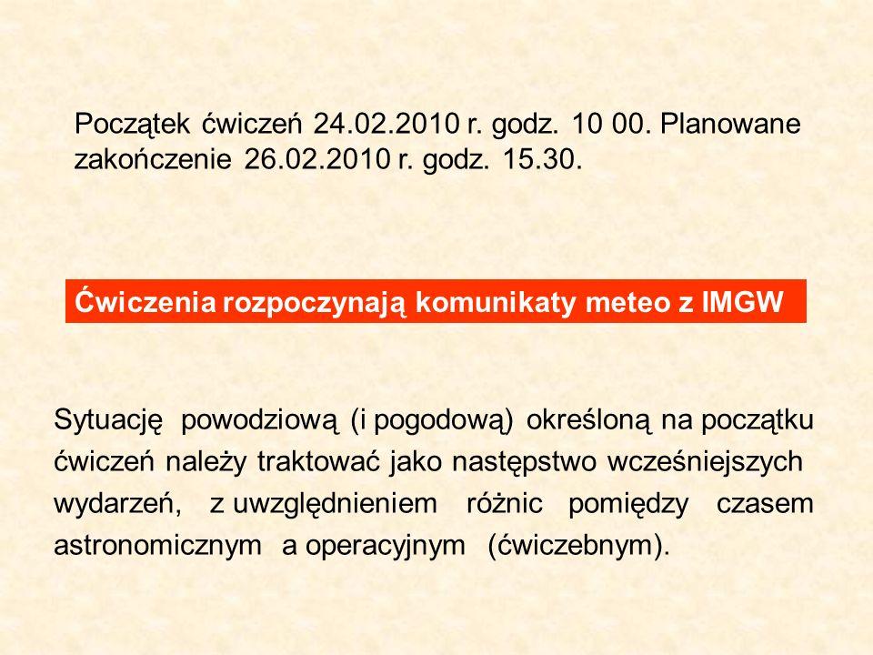 Początek ćwiczeń 24.02.2010 r. godz. 10 00. Planowane zakończenie 26.02.2010 r. godz. 15.30. Ćwiczenia rozpoczynają komunikaty meteo z IMGW Sytuację p