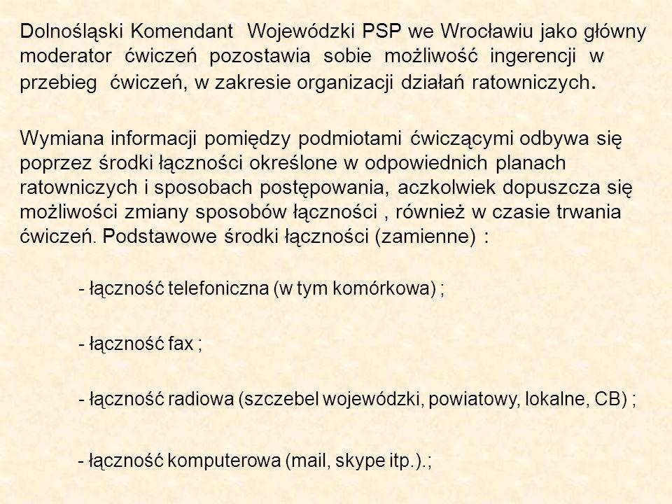 Dolnośląski Komendant Wojewódzki PSP we Wrocławiu jako główny moderator ćwiczeń pozostawia sobie możliwość ingerencji w przebieg ćwiczeń, w zakresie organizacji działań ratowniczych.