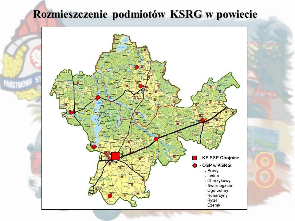 Rozmieszczenie podmiotów KSRG w powiecie - KP PSP Chojnice - OSP w KSRG: - Brusy - Leśno - Charzykowy - Swornegacie - Ogorzeliny - Konarzyny - Rytel -