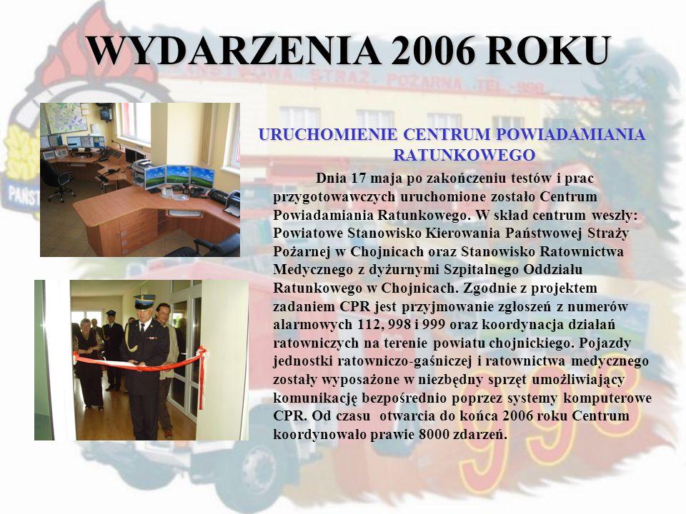 WYDARZENIA 2006 ROKU URUCHOMIENIE CENTRUM POWIADAMIANIA RATUNKOWEGO Dnia 17 maja po zakończeniu testów i prac przygotowawczych uruchomione zostało Cen